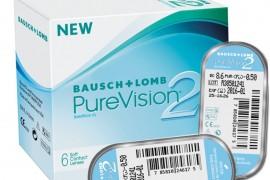 Контактные линзы Pure Vision 2 для месячного ношения, 6 линз